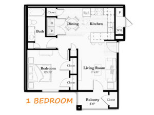 Typical One Bedroom, One Bathroom