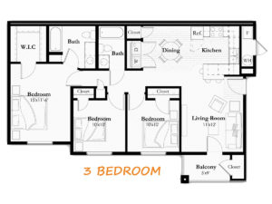 Typical 3 Bedroom, 2 Bathroom